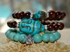 Set of 3 Coffee Brown Wooden and Turquoise by uniquebeadingbyme #turquoise #buddha #bracelets
