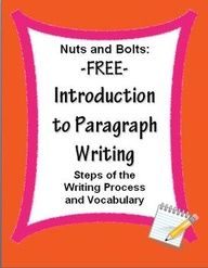FREE Paragraph Writing Introduction: Steps of Writing Process & Vocabulary~ Easy-to-use worksheets support your writing program.  Print, and go!  Companion product available @ http://www.teacherspayteachers.com/Product/Paragraph-Writing-Introduction-PowerPoint.    #writing #paragraph