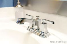 Upgrading my bathroom faucets with an easy install! via MakelyHome.com #MoenBoardwalk