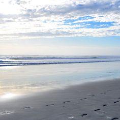 2048x2048 Wallpaper sand, traces, beach, ocean, waves, coast, sky, clouds, azure, gleam