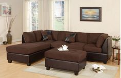 """Description: Sectional Sofa, Chaise and Ottoman Color: Black, Chocolate, Saddle, or Red Material: Microfiber and Faux Leather Condition: New. Measurements: 3-Seat Sofa: 78"""" x 34"""" x 35""""H Chaise: 84"""" x"""