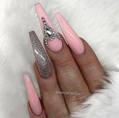 Long Ballerina Nails. Nails With Rhinestones. Pink And Gray Nails. Acrylic Nails.
