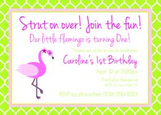 Flamingo Theme Birthday Party Invitation- Luau Birthday Party Invitation-Flamingo Party Invitation- Flamingo Party Invite by CrowningDetails on Etsy https://www.etsy.com/listing/181525886/flamingo-theme-birthday-party-invitation