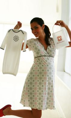 Starlit Mom & Baby Gift Set -- chemise and matching baby outfit in the softest pima cotton.  Packaged in a grab and go purse bag.  The perfect gift.