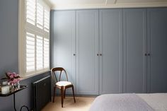 West London, bespoke bedroom joinery with bronze salvage handles