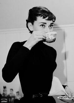 Audrey Hepburn drinking coffee