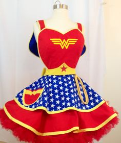Wonder Woman Costume Pinup Apron, Super Hero. Comic Book Cosplay, Retro Apron by SassyFrasCollection on Etsy https://www.etsy.com/listing/295225201/wonder-woman-costume-pinup-apron-super