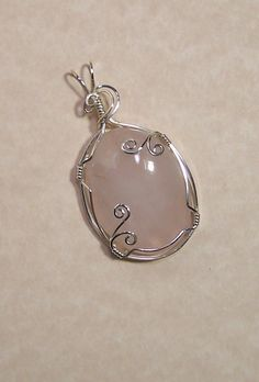 Items similar to Sterling Silver Wire Wrap Gemstone Cabachon Pendant-Rose Quartz-Handmade Jewelry-c027p on Etsy                                                                                                                                                                                 More