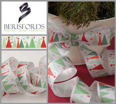 Berisfords Christmas Ribbon Merry Trees is a single sided white ribon with various red & green Christmas tree designs with stars & snowflakes. Priced Per Metre Christmas Tree Pattern, Ribbon On Christmas Tree, Christmas Tree Design, Green Christmas, Ribbon Crafts, Ribbon Bows, Ribbons, Tree Images, Tree Print