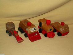 WOODEN TRAIN MATTEL 1971 1972 PUTT PUTT WOOD TRUCK SNOW SHOVEL STEAM WIND UP #Mattel