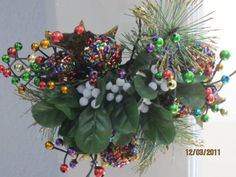Bunches of different flowers added to make a fun holiday mistletoe