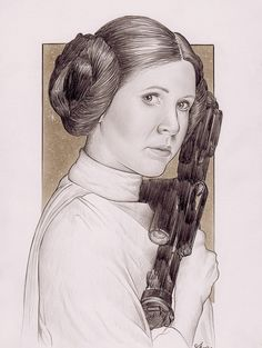 Carrie Fisher as Princess Leia, Star Wars, Pencil on paper, inches Carrie Fisher, Princess Leia, Mona Lisa, Star Wars, Artwork, Pencil, Sketch, Movie, Paper