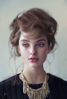 """Smile"" - Jun You. Digital painting based on photograph by Alexei Kazantsev of model Polina."