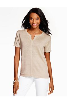 Linen Short-Sleeve Sweater-Sparkle - Talbots