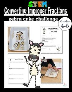 This product is a STEM math activity. It is great for introducing students to some of the engineering design components within a math context. The challenge focuses on unit fractions and converting a whole number into unit fractions which creates an improper fraction.Through problem solving the students partition the Zebra Cakes to demonstrate how improper fractions can be converted to mixed numbers.This product includes:- complete lesson plan with picture- planning tips- 2 differentiated…