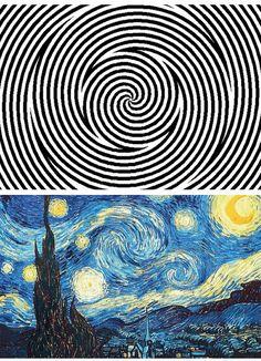 Schaue für grob 30 Sekunden auf die Animation oben und dann unten auf Van Goghs Sternennacht. Na? Bewegt es sich plötzlich?