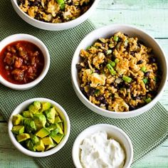Slow Cooker Spicy Brown Rice and Black Bean Cheesy Bowl (Vegetarian, Gluten-Free)  [from Kalyn's Kitchen]