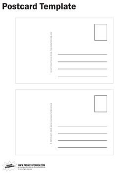 Postcard Template - perfect for our pen pal project