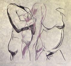 Figures Study, Life Drawing Lino Print by Neil Shrubb
