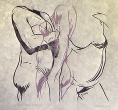 Figures Study, Life Drawing Lino Print by Neil Shrubb
