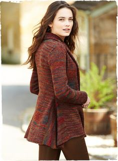 Knit in space-dyed bouclé yarns in the shifting hues of a sunset—burgundy, plum, dusky blue and copper—our contemporary cardigan is a textur...