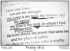 """""""The Lord is my rock, my fortress, and my savior; my God is my rock, in whom I find protection. He is my shield, the power that saves me, and my place of safety."""" Psalm 18:2 #bible"""