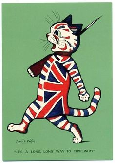 It's a Long Way to Tipperary. Patriotic Greeting Card by Louis Wain.