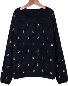 Shop Navy Long Sleeve Note Embroidered Knit Sweater online. Sheinside offers Navy Long Sleeve Note Embroidered Knit Sweater & more to fit your fashionable needs. Free Shipping Worldwide!