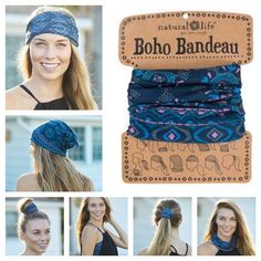 Boho Bandeau Haarband Blue ❤️ Wrap it * Wear it Nieuwe prints en kleuren Boho Bandeau's in de webshop, enjoy