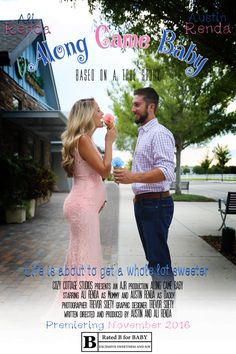 Pregnancy announcement / baby announcement / movie poster / along came baby / ice cream announcement / pink and blue / photo & edit: Trevor Soety