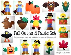 Fall Cut and Paste Set that includes patterns for copying and tracing by hand.