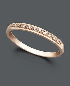 14k Rose Gold Ring, Pave Diamond Accent Band - Rings - Jewelry & Watches - Macy's