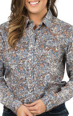 Panhandle Rough Stock Women's Blue Paisley Long Sleeve Western Shirt | Cavender's