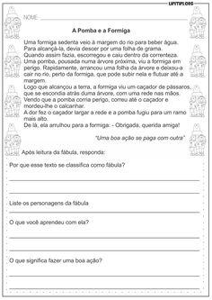 Interpretação Textual Fábula A Pomba e a Formiga