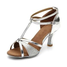 Website of sexy dance shoes! Women's Leatherette Sparkling Glitter Heels Sandals Latin With T-Strap Ankle Strap Dance Shoes Silver Shoes, Black Shoes, Dance Aesthetic, Suede Shoes, Shoes Heels, Baile Latino, Latin Dance Shoes, Dancing Shoes, Shoes