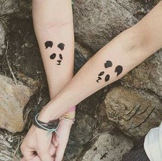 Matching panda tattoos