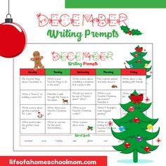 December Writing Prompts Calendar for Homeschool - Life of a Homeschool Mom Narrative Writing Prompts, Kindergarten Writing Prompts, Writing Topics, Writing Prompts For Kids, Creative Writing, Kindergarten Projects, Kindergarten Christmas, Sentence Writing, Opinion Writing