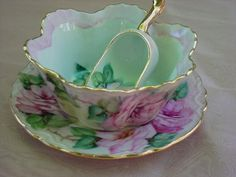 ROSES Hand Painted Mint Dish & Scoop ROSES Hand Painted Joye Hinton Artist at Beautiful Shops