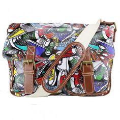 Fashionable Canvas Shoes Pattern – Oilcloth Satchel Messenger Bag – PE, COLLEGE…