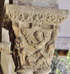 Capitel de la caída en el camino de Damasco - Claustro románico de la Catedral de Tudela, Navarra