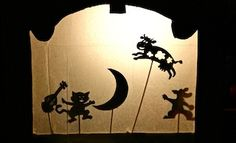 Make your own shadow puppet theatre out of a cardboard box.  This is perfect as Cece is learning this rhyme at preschool!