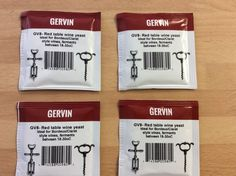 GERVIN GV8 RED WINE   YEAST,  Pack of 4 sachets HOME-BREW FREEPOST UK