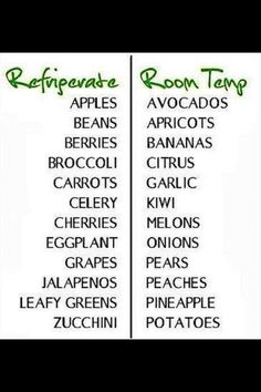 How to store fresh foods...