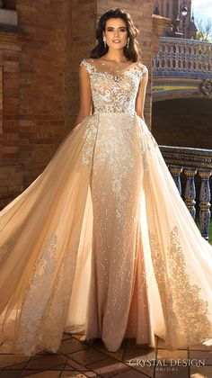 crystal design 2017 bridal cap sleeves jewel neckline heavily embroidered bodice princess elegant ivory color detachable skirt sheath wedding dress a  line overskirt  low back long train (odri)