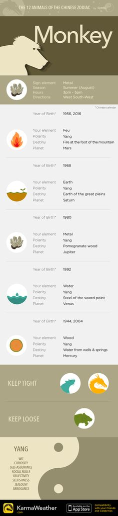 Sign of the Monkey - The 12 animals of the Chinese Zodiac by KarmaWeather, Free Chinese horoscope iPhone app