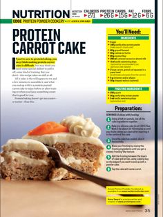 in Magazines Vanilla whey carrot cake … Whey Protein Recipes, Protein Desserts, Protein Snacks, Protein Cake, Protein Powder Recipes, Best Protein, High Protein Low Carb, Healthy Desserts, Protein Muffins
