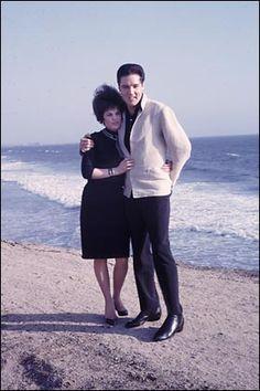 Elvis and Priscilla Presley on the beach, 1963 photo