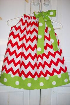 Pillowcase Dress CHRISTMAS CHEVRON red lime green Dots baby toddler girl Holiday on Etsy, $20.00