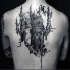 Black and Grey Castle. Get your back covered with this amazingly created castle tattoo design. Word Tattoos, Body Art Tattoos, Sleeve Tattoos, New Tattoos, Tatoos, Tattoo Art, Medieval Tattoo, Future Tattoos, Tattoos For Guys