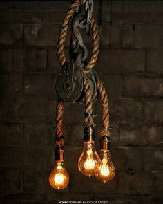 •The Triple Rigger Chandelier•  Find this unique light and more like it at our shop: Rustic Industrial Lighting Pulley lamp antlers Pulley Light - Barn wood Pendant Light -Manila Rope Light - rustic Chandelier - Industrial Lighting - Vintage lighting Log Cabin